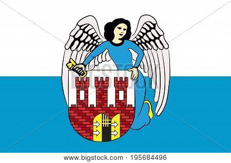 Flag of Torun city in Kuyavian-Pomeranian Voivodeship in Poland. Vector illustration from the