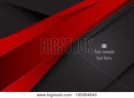 Red and Black abstract layer geometric background for card annual business report poster template