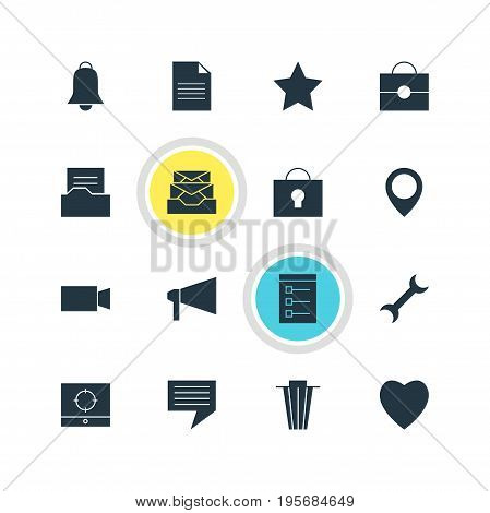 Vector Illustration Of 16 Internet Icons. Editable Pack Of Settings, Bullhorn, Love And Other Elements.