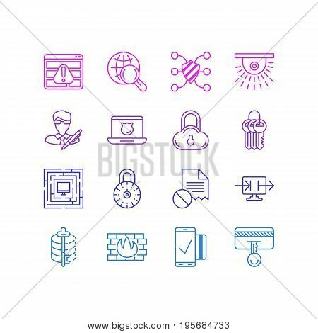 Vector Illustration Of 16 Protection Icons. Editable Pack Of Safe Storage, Encoder, Data Error And Other Elements.