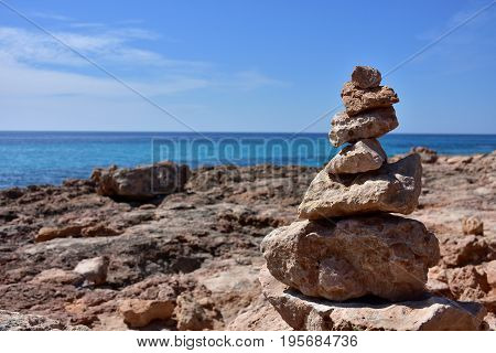 rocky seacoast near lighthouse Cap Blanc on island Majorca,Spain