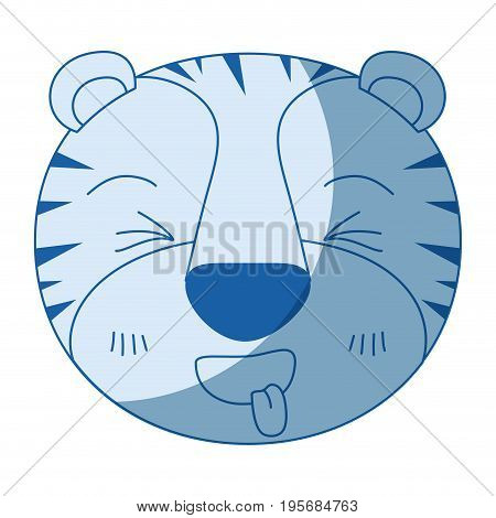 blue color shading silhouette cute face of tiger sticking out tongue expression vector illustration