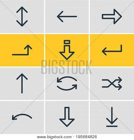 Vector Illustration Of 12 Direction Icons. Editable Pack Of Upwards, Right, Left And Other Elements.