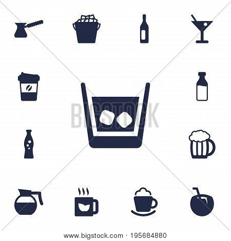 Set Of 13 Drinks Icons Set.Collection Of Wine, Cream, Martini And Other Elements.