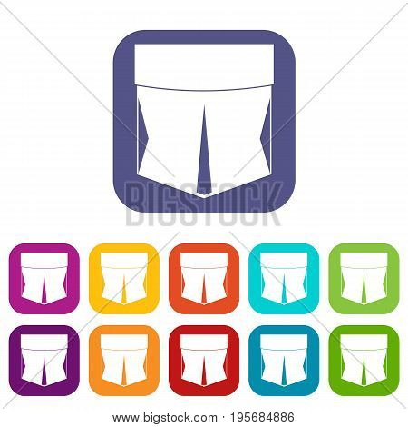 Pocket icons set vector illustration in flat style In colors red, blue, green and other