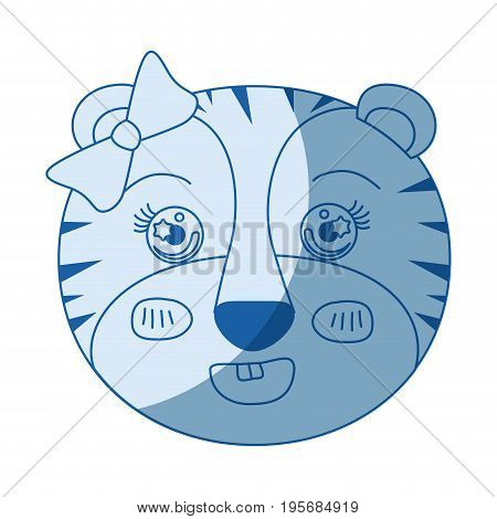 blue color shading silhouette face of female tigress animal with bow lace vector illustration