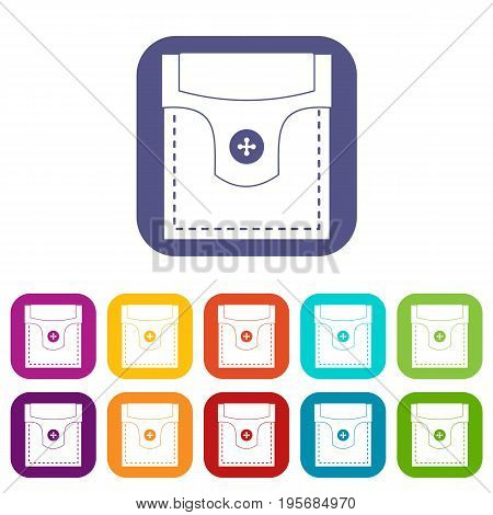 Valve pocket with button icons set vector illustration in flat style In colors red, blue, green and other