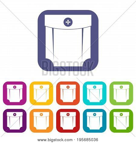 Pocket design icons set vector illustration in flat style In colors red, blue, green and other