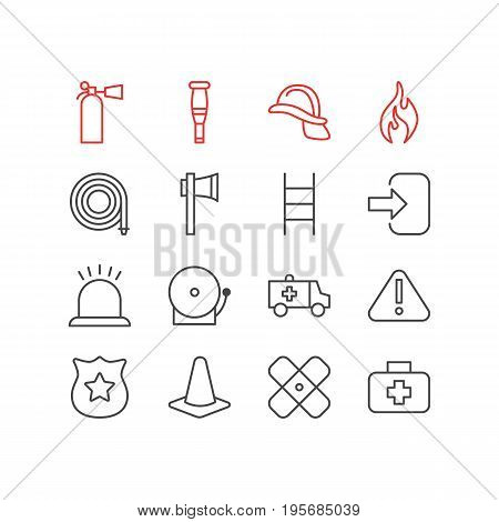 Vector Illustration Of 16 Emergency Icons. Editable Pack Of Safety, Medical Case, Siren And Other Elements.