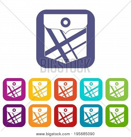 Black pocket patch icons set vector illustration in flat style In colors red, blue, green and other