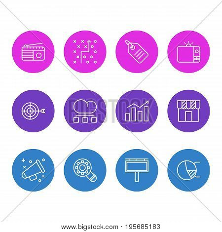 Vector Illustration Of 12 Advertising Icons. Editable Pack Of Circle Diagram, Advertising Billboard, Fm Broadcasting And Other Elements.
