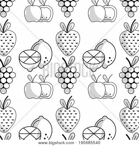 delicious fruits with nutrients and vitamin background vector illustration