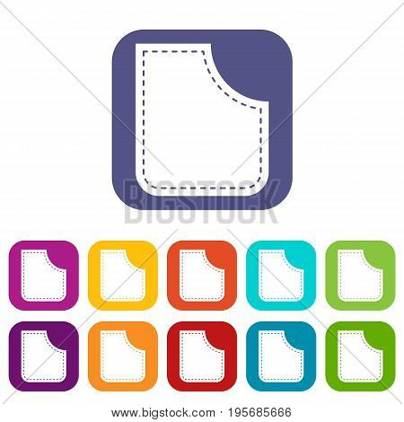 Abstract pocket icons set vector illustration in flat style In colors red, blue, green and other