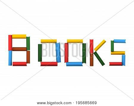 3D sign of books made up of book. Isolated on white.