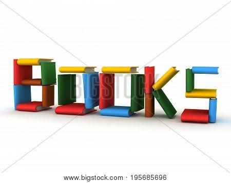 3D illustration of the word books made up of actual book.. Isolated on white.