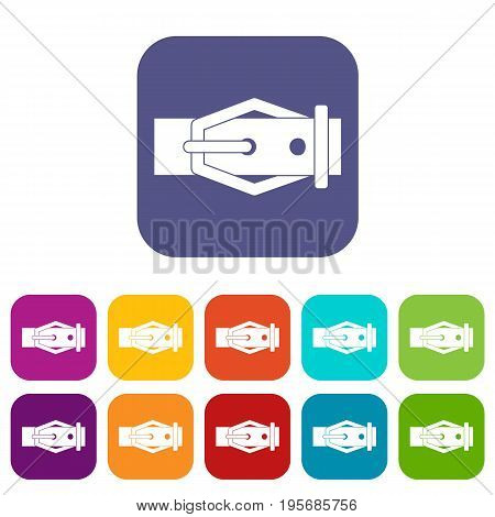 Leather belt icons set vector illustration in flat style In colors red, blue, green and other