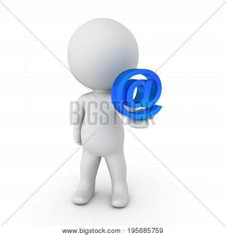 3D Character Holding A Blue Around Mail Symbol