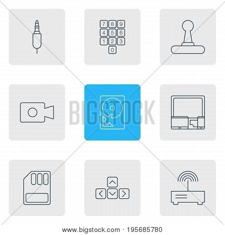 Vector Illustration Of 9 Laptop Icons. Editable Pack Of Game Controller, Gadgets, Hard Drive Disk And Other Elements.