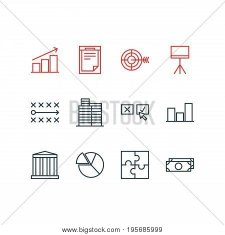 Vector Illustration Of 12 Business Icons. Editable Pack Of Graph , File, Board Stand Elements.