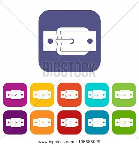Metal belt buckle icons set vector illustration in flat style In colors red, blue, green and other
