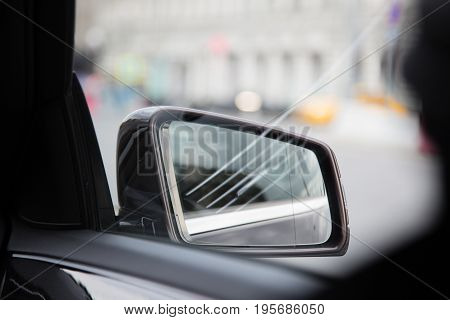 Rear view vehicle reflections background shallow depth of field