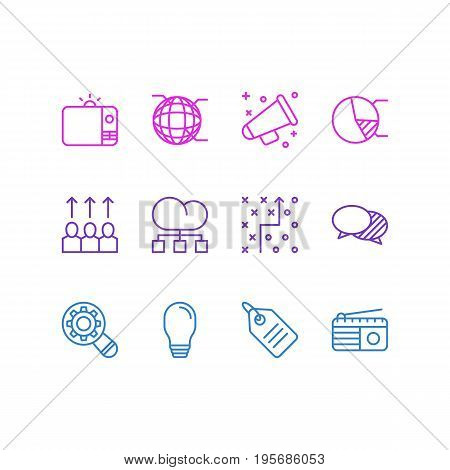 Vector Illustration Of 12 Marketing Icons. Editable Pack Of Discount Label, Lamp, Fm Broadcasting And Other Elements.
