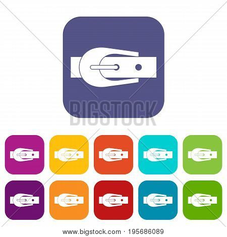 Elegant trousers belt icons set vector illustration in flat style In colors red, blue, green and other