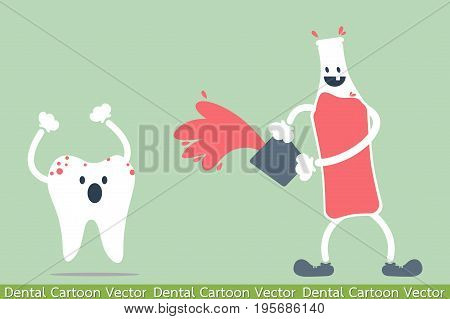 dental cartoon vector - decayed tooth - teeth problem from soft drink