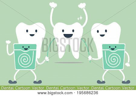 tooth cartoon vector - teeth cleaning by dental floss