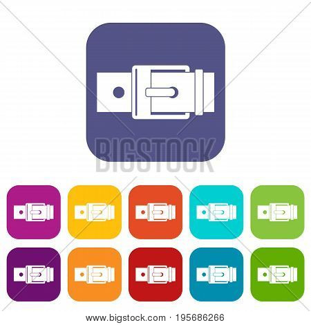 Belt with square buckle icons set vector illustration in flat style In colors red, blue, green and other