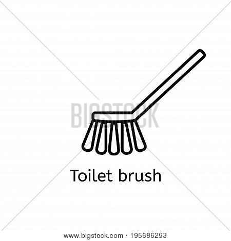 Toilet Brush Simple Line Icon. Washing Brush Thin Linear Signs. Bathroom Cleaning Simple Concept For