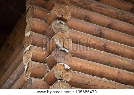 Wood logs brown house traditional design background