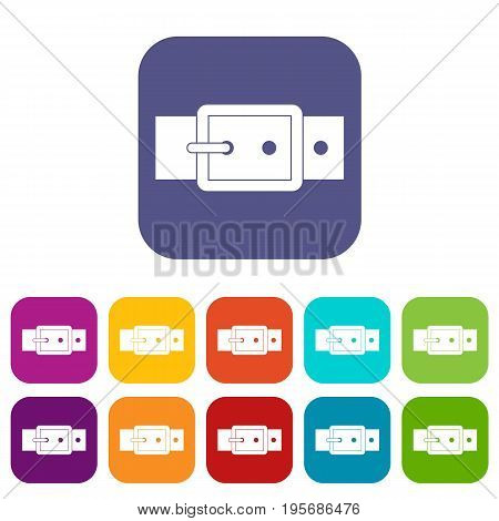 Black buckle belt icons set vector illustration in flat style In colors red, blue, green and other