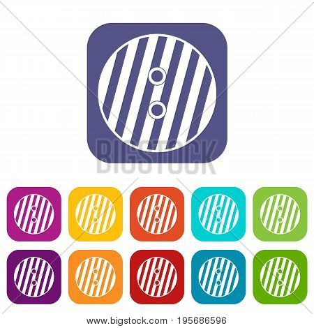 Striped sewing button icons set vector illustration in flat style In colors red, blue, green and other