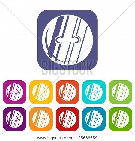 Round sewn button icons set vector illustration in flat style In colors red, blue, green and other