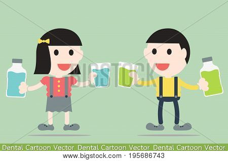 dental cartoon vector - boy and girl are rinse them mouth by mouthwash