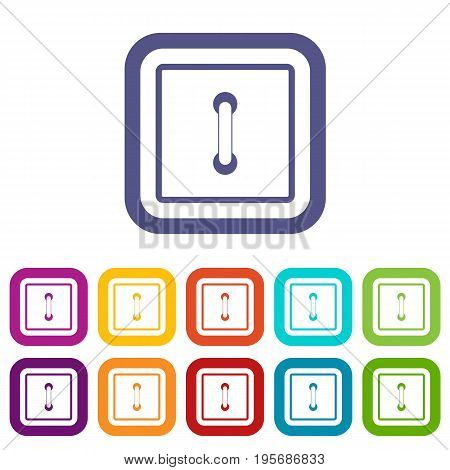 Sewn square button icons set vector illustration in flat style In colors red, blue, green and other