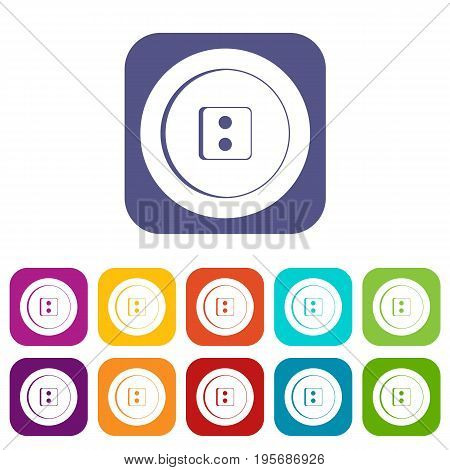 Dress round button icons set vector illustration in flat style In colors red, blue, green and other