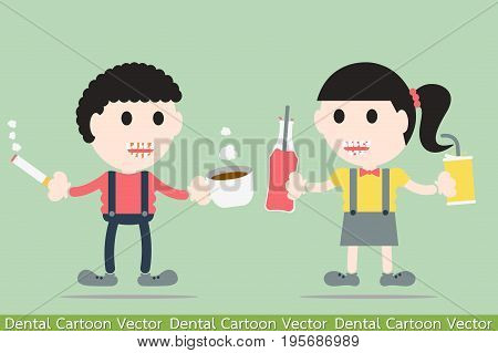 dental cartoon vector - boy and girl are decayed tooth and tartar by soft drink coffee and cigarette