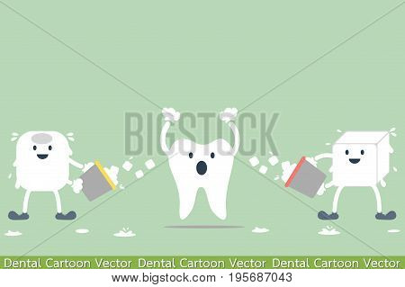 dental cartoon vector - tooth problem - hypersensitive teeth from ice water