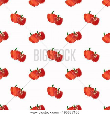Seamless Background Image Colorful Watercolor Texture Vegetable Food Ingredient Red Scotch Bonnet Pe