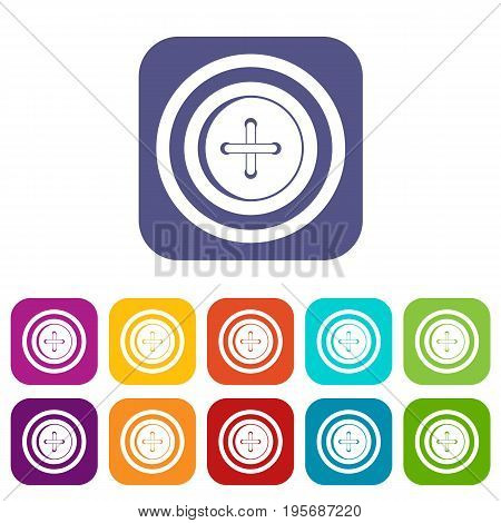Sewing button with a thread icons set vector illustration in flat style In colors red, blue, green and other