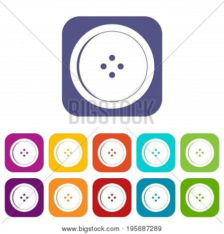 Round sewing button icons set vector illustration in flat style In colors red, blue, green and other
