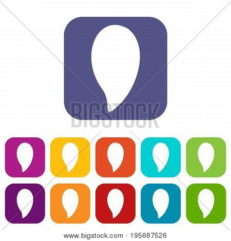 Almond nut icons set vector illustration in flat style In colors red, blue, green and other