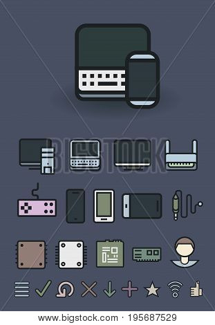 Computer and mobile technologies. Vector Icons set EPS8