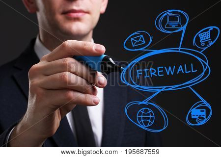Business, Technology, Internet And Network Concept. Young Business Man Writing Word: Firewall