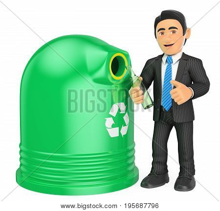 3d business people illustration. Businessman recycling a glass bottle. Isolated white background