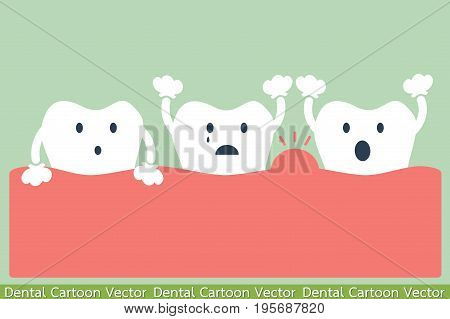 dental cartoon vector - tooth periodontal disease