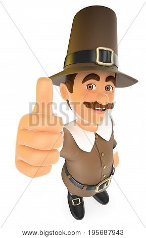 3d thanksgiving people illustration. Man with thumb up. Isolated white background.
