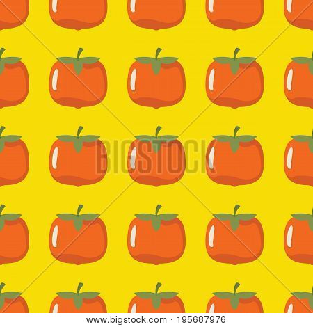 Persimmon vector seamless pattern. Cartoon fruit stylish texture. Repeating persimmon fruit seamless pattern background for friut design and web